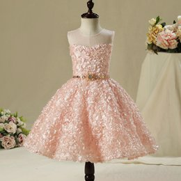 Wholesale T Shirts For Girls Embroidery - SSYFashion 2017 New Sweet Pink Lace Flower Girl Dress for Wedding Party The Children's Princess Birthday Catwalk Formal Dresses