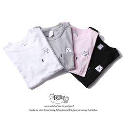 Wholesale Kimono Cheap - 2017 new European and American T-shirt fashion cheap cat middle finger short sleeve