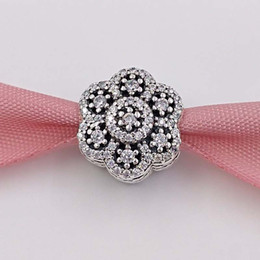 Wholesale Winter Holidays - Winter 925 Silver Beads Ice Floral Charm Fits European Pandora Style Jewelry Bracelets 791998CZ snowflakes snap Christmas Day Gifts