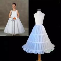 Wholesale Free Ball Gowns - Hot Sale Three Circle Hoop White Girls' Petticoats Ball Gown Children Kid Dress Slip Flower Girl Skirt Petticoat Free Shipping Cheap