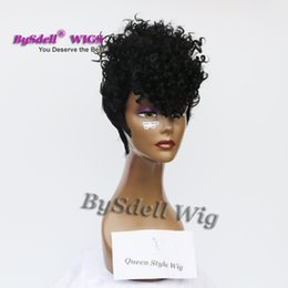 Wholesale hair fringes - Celebrity Rihanna Hairstyle Cornrows Curl Wig Punk Curly Black Hair Wig Synthetic Short Cuts Unique Fringe Wigs for Black Women
