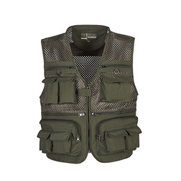 Wholesale Mesh Mens Vests - Wholesale- High Quality Mens Mesh Outdoors Vest With Multi Pockets Waistcoat Sleeveless Jacket For Men