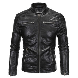 Wholesale Mens Leather Biker Jacket Xl - Wholesale- 2016 Cool Fashion Vintage Motorcycle Jacket Wholesale Factory Sale European Mens Leather Biker Jacket High Quality 5XL S1964