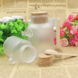 Wholesale Empty Jar Bottle - 100g ABS Round Bottles with Cork 100ML Empty Powder Bath Salt Plastic Bottle Cosmetic Facial Mask Refillable Bottles Jar with Wood Spoons