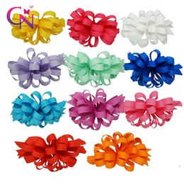 """Wholesale Korker Flowers - 4"""" New Trendy Boutique Korker Bows Ribbon Flower Korker Hair Bow With Clip Girl Fashion Hair Accessories"""