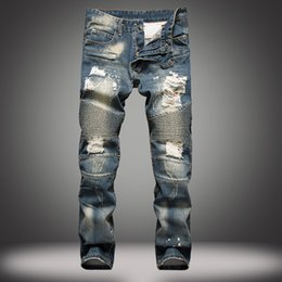 Wholesale New Mens Pants - Fashion New Men Jeans Cool Mens Distressed Ripped Jeans Fashion Designer Straight Motorcycle Biker Jeans Causal Denim Pants Streetwear Style