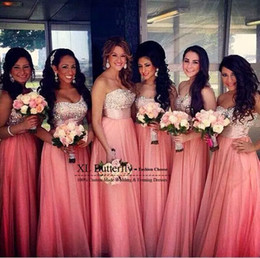 Wholesale Strapless Sweetheart Chiffon Dress - 2017 Coral Long Chiffon Bridesmaid Dresses Cheap Custom Strapless with Sequins Crystal A Lind Floor Length Maid of Honor Gowns BO9204