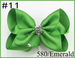 Wholesale Holiday Boutique Hair Bows - free shipping 30pcs 5-6'' Large funky neon color signature hair bow boutique hair bows RHINESTONE SUMMER HOLIDAYS hair clips