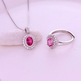 Wholesale Pink Topaz Gold Rings - Fine Jewelry Sterling Silver 925 With Natural Pink Topaz Jewelry Set Of Pendant Ring For Women