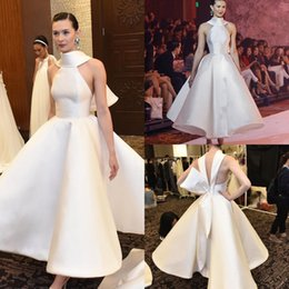 Wholesale Short Cheap Stylish Dresses - Stylish Backless Short Wedding Dresses A-Line Halter Neck Ankle Length Taffeta Cheap Plus Size Bridal Gowns With A Bow