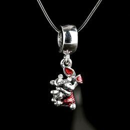 Wholesale Purple Teddy Bear Flowers - Red Enamel Piglet Charms Pendants 925 Sterling Silver Dangle Animal Teddy Bear Beads For Jewelry Making DIY Bracelets