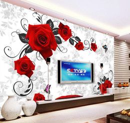 Wholesale red vinyl wallpaper - Custom any size Red Rose TV Wall Decorative Painting mural 3d wallpaper 3d wall papers for tv backdrop