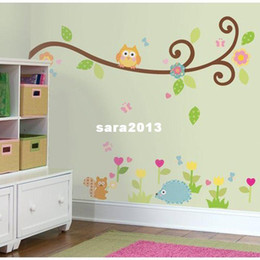 Wholesale Owl Scroll Decal - Free Shipping:Cute Owl Scroll Tree Branch 3D Wall Decals Removable PVC Wall stickers Mural For Kids Nursery Room Decor 120*130c