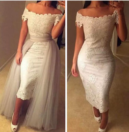 Wholesale Natural Overlay - Ivory Scoop Sheath Lace Appliques Evening Dresses Two Pieces Tulle Overlay Custom Online 2016 prom Tea Length Formal Women