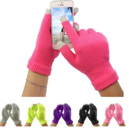 Wholesale Touch Screen Glove Cotton - Fingers Gloves Christmas Colorful Winter Warm Touch Gloves Cotton Capacitive Touch Screen Conductive Gloves Mix Color YYA249