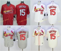 Wholesale St 15 - St. Louis Cardinals #15 Randal Grichuk Home Away Jersey Cream Red Blue Grey White Black Throwback Pullover Retro Cool Base Stitched