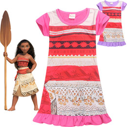 Wholesale Lace Clothes For Children - Moana Dresses Summer Girls Dresses Children Dresses For Girls Princess Dress Christmas Kids Party Cosplay Clothes Kids Summer Dress LA432