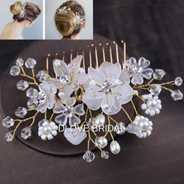 Wholesale rhinestone hair decorations - New Arrival Fairy Floral Bridal Hair Comb Clear Crystal Handmade Wedding Party Prom Hair Decorations Jewelry Accessory Headpiece Hairflower