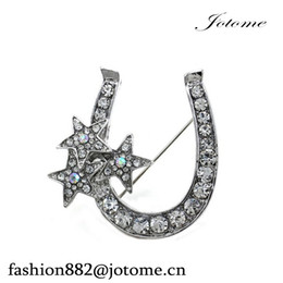 Wholesale Crystal Good Luck - 50PCS Lot Free Shipping Hot sale Lucky Stars Good Luck Charm Western Cowboy Horseshoe Brooch Pin Clear Rhinestone