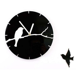 Wholesale Trees Branches Birds - Wholesale- 12'' Quartz Silent Tree Branch Birds 3D Acrylic Wall Clock for Living Room Decoration