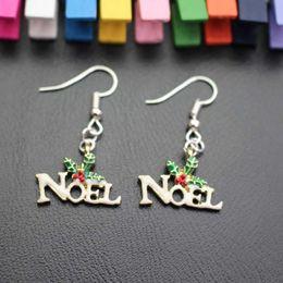 Wholesale Words Earrings - Christmas Serie Ear Stud Earrings Noel Word Pendant Shape Xmas Ornament Present Gift For Women and Children