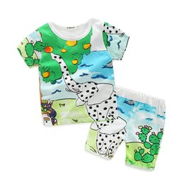Wholesale Wholesale Baby Clothings - Kids Casual Suits for Baby Summer Short Sleeved Cotton Children Outfits Cartoon Elephant Cute Animals Kids Clothings