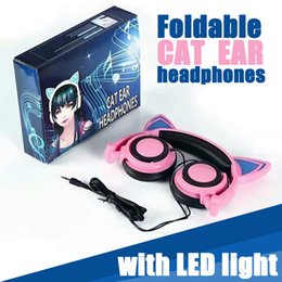 Wholesale Over Ear Headphones Yellow - Cat Ears Headphones With LED Glowing Lights Over The Ears Gaming Headphones 7 Color Children Earphone For Mobile Phone Pad PC DHL Free