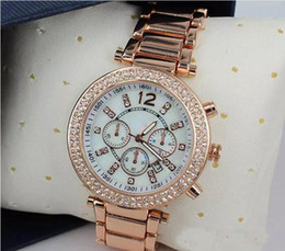 Wholesale 39 Mm Rhinestone - Luxury Famous Designer Women Rhinestone watches fashion luxury Brand Dress Michael ladies watch for Free Shipping 058