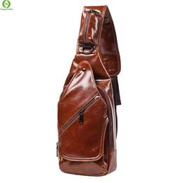Wholesale Crazy Shoulders - Wholesale-New fashion style Crazy horse Leather Men chest pack small bag CrossBody Shoulder bag Leisure travel mini bag Black Brown