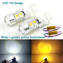 Wholesale 3157 Led Lights Dual Color - Excellent No error Ultrabright 3157 Dual-Color Switchback LED DRL Parking+front Turn Signal light For Dodge led light