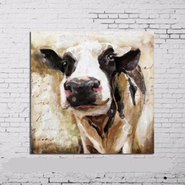 Wholesale Cute Animals Paintings - cute cow,Hand Painted Contemporary Abstract Wall Decor Cartoon Animal Art Oil Painting.Multi customized sizes Framed ynqp A058