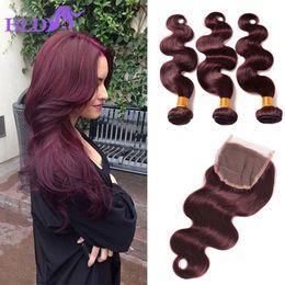 Wholesale Red Brazilian Hair - Grade 8a Brazilian Human Hair Bundles Red Bundles With Closure 99j Body Wave Virgin Hair Closure Burgundy Human Hair Bundles With Closure