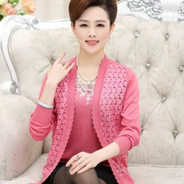 Wholesale Womens Plus Size Cardigan - Wholesale-New womens cardigan 2016 fashion 2 piece set tricot outerwear middle-age women knitted cardigan plus size S-XXL sweater