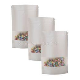 "Wholesale Corner Fabric - High Quality 16x24cm (6.25x9.5"") 100PCS Round Corner Reclosable Food Storage Zip Lock White Kraft Paper Bags With Window"