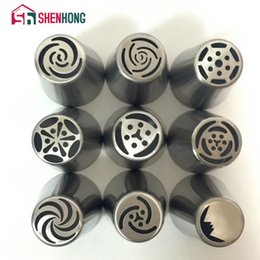 Wholesale Wholesale Nozzle Tips - 9 Pieces   Set Russian Piping Tips Stainless Steel Icing Nozzles Pastry Cake Decorating Decoration Tools Boquillas Rusas