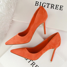 Wholesale Korean Party Dresses Women - 2017 New Arrival Korean Concise Pointed Toe Office Shoes Women's Fashion Solid Flock Shallow High Heels Shoes for Women 9 Colors