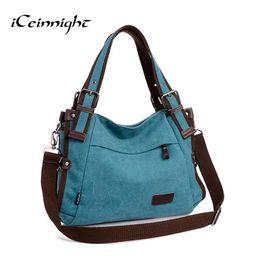 Wholesale School Bags Handbags - Wholesale-iCeinnight 2016 women canvas bag casual vintage shoulder bag fashion school bags for teenagers and teenage girls blue handbag