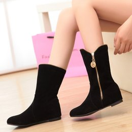 Wholesale Increase Calf Size - Wholesale- New Plus Size Warm Plush Women Snow Boots Fashion Suede Zip Height Increase Boots Retro Flat Mid-Calf Botas Single Winter Shoes