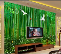 Wholesale Floral Definition - Home Decor Living Room Natural Art high - definition bamboo forest hand - painted bamboo fresh background wall