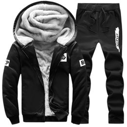 Wholesale Thick Suits - Wholesale- Men Sportswear Hoodie And Sweatshirts Autumn Winter Jogger Sporting Suit Mens Sweat Suits Brand Mens Tracksuits Set Jacket+Pants