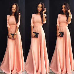 Wholesale Modest Prom Dress Cheap - 2017 Cheap Modest Coral Pink A-line Long Evening Dresses With Half Sleeves Floor Length Prom Party Guests Dress Bridesmaid Gowns Custom Made