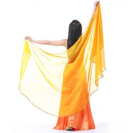 Wholesale Belly Dance Shawl Veil - Belly Dance Chiffon Veil With Gold Trim gauze headscarf Womens Accessories Yoga Belly Dance Scarf Shawl mixed colors 240*120cm