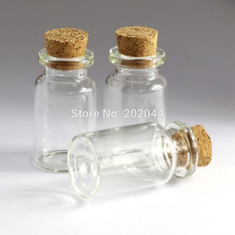 Wholesale Wholesale Tiny Glass Bottle Vials - Wholesale- 100pcs 7ml Mason Jar Glass Bottles Vials Jars With Cork Stopper Decorative Corked Tiny Mini Liquid Bottle 22*40mm 0.86*1.57in