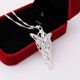 Wholesale Arwen Evenstar Silver - New 2017 Wizard Princess Arwen Evenstar Silver Pendant Necklace Evening Star High Quality Crystal Necklace For Women b253