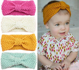 Wholesale Newborn Baby Girl Head Bands - baby girl knit crochet turban headband warm headbands hair accessories for newborns hair head bands band hairband kids ornaments