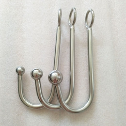 Wholesale stainless ball for anal hook - Stainless Steel Metal Different Size Ball Anal Hook Sex Toys for Woman Man Couple Butt Plug Ass Stopper BDSM Fetish Bondage Tool