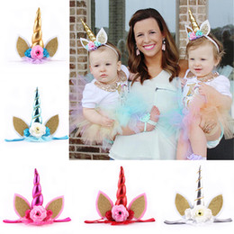 Wholesale Tiara Cat Ears - Unicorn Headband Elastic Tulle Hairband Baby Halloween Children Birthday Party Decoration Kids Flower Cat Ear Hair Tiaras