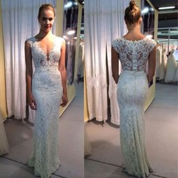 Wholesale Miss Dresses Com - 2017 Reception Sheath Deep V-neck Wedding Dresses Lace Sexy Illusion Bridal Gowns Beach Summer Vestido De Noiva Com Renda