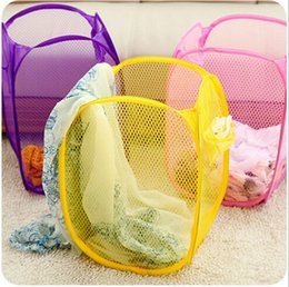 Wholesale Plastic Clothes Baskets Laundry - 100 pieces Foldable Laundry Clothes Basket Storage Pop Up Laundry Hamper In Retail Packages Free Shipping