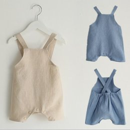 Wholesale Cute Sweet Boys - Everweekend Baby Boys Girls Cotton Linen Halter Rompers Beige Blue Color Sweet Children Fashion Summer Clothing Cute Fashion Clothes